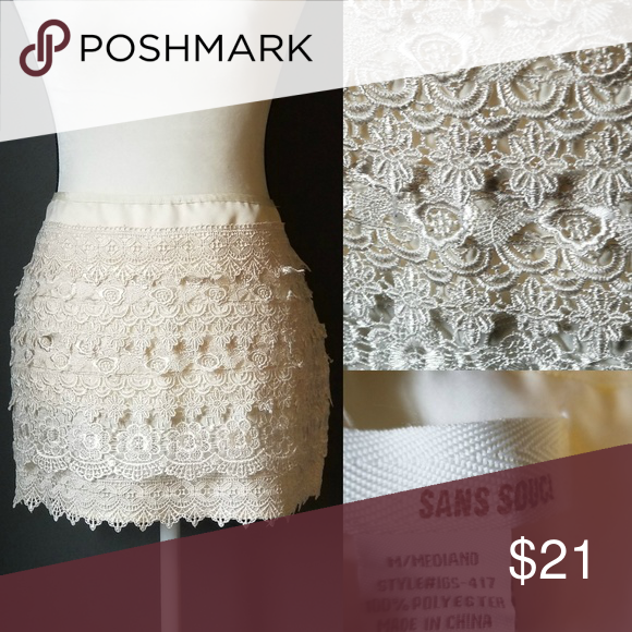 93c9d5e075f0 SANS SOUCI Ivory crocheted lace beautiful mini ski Ivory layered lace mini  skirt Sans Souci Skirts Mini