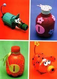 Ideas Para Reciclar Botellas De Plástico Huchas Fuente Ecocosas Manualidades Con Botellas Manualidades Infantiles Manualidades