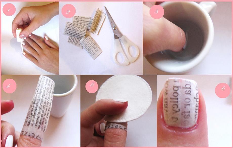 Newspaper nail art. es tan sencillo como seguir los pasos de la ...