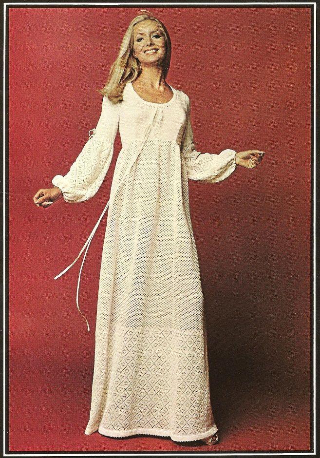 Knit Wedding Dress Seventies Fashion Dresses Gown Pattern