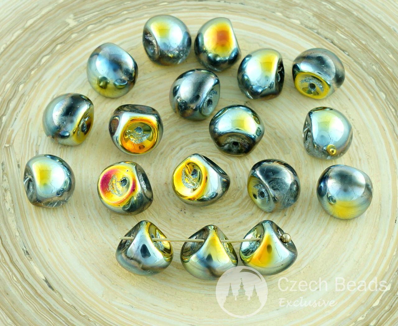 12pcs Picasso Large Mushroom Button Czech Glass Beads 9mm x 8mm