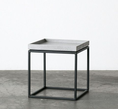 The Minimalist - Slabs By Design concrete tray top side table / small