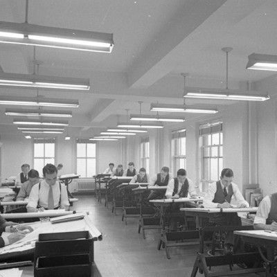 Dentro de un despacho de diseño en 1940