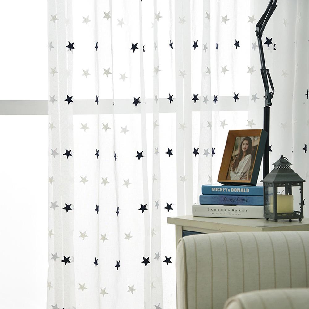 Moderne Gardine mit Sterne Motiv für Kinderzimmer