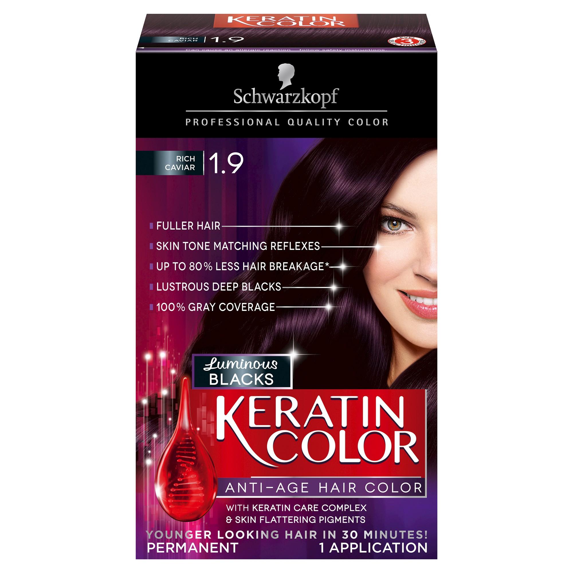 Schwarzkopf Keratin Color Anti Age Hair Color 1 9 Rich Caviar 2 03 Fl Oz Warm Hair Color Hair Color Hair Color Cream