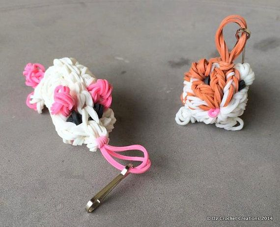 Rainbow Loom Charm  Zipper Pull  Charm  Guinea Pig by HandMadeByDz, $4.00