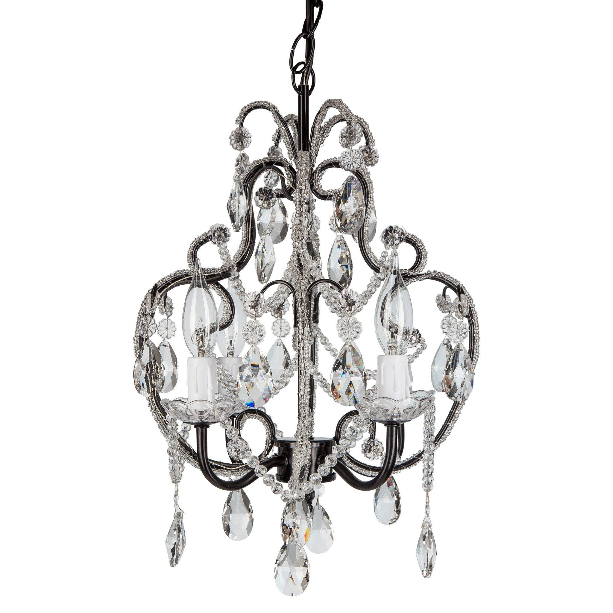 4 light beaded crystal plug in chandelier black crystals and 4 light beaded crystal plug in chandelier black arubaitofo Image collections