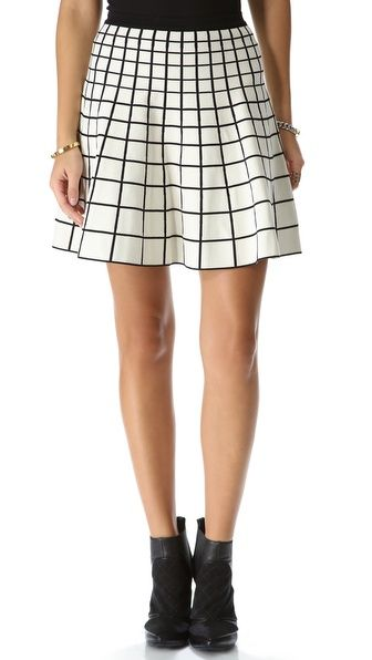 Wish it were knee length, but I'm loving these grid skirts. So cute!