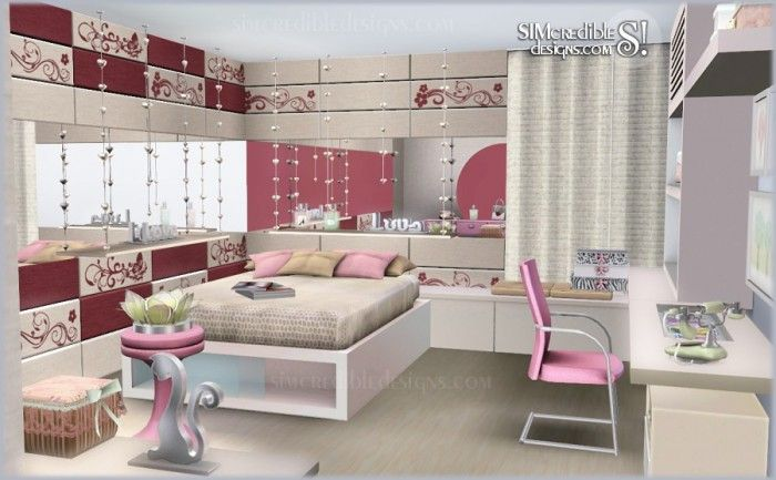 Tutti Frutti Donation Bedroom Plus Free Decor Set By Simcredible Sims House Sims 4 Bedroom Sims