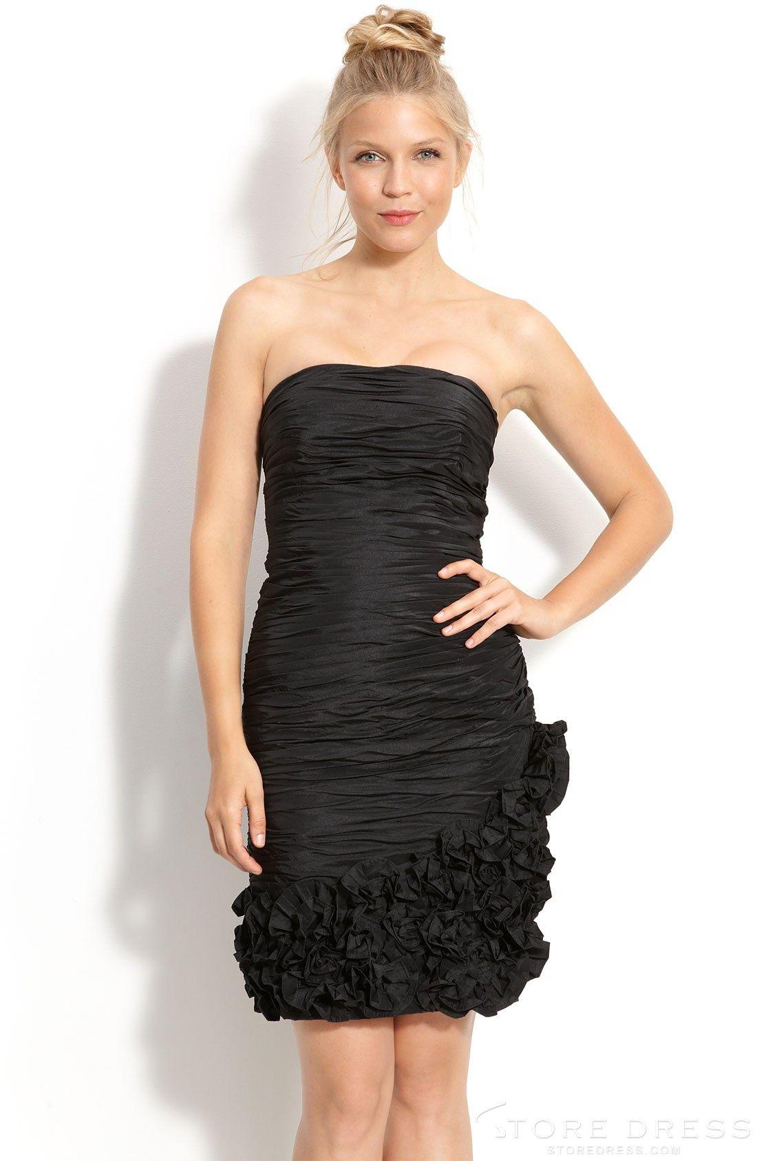 Strapless Sheath Knee Length Bridesmaid Dress with Black