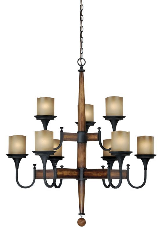 Vaxcel Lighting H0027 Meritage 9 Light Two Tier Chandelier with Frosted Glass Sh Charred Wood and Black Iron Indoor Lighting Chandeliers