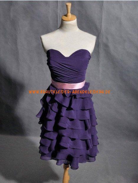 Lila Schöne Kurze Abendkleider aus Chiffon