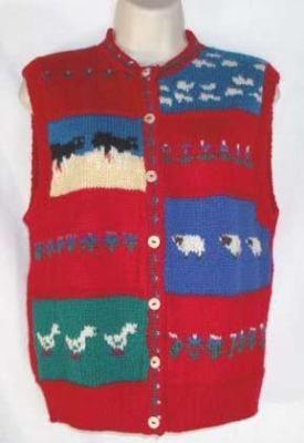 ALLEN SOLBY womens sweater vest URUGUAY 100% WOOL sz PM