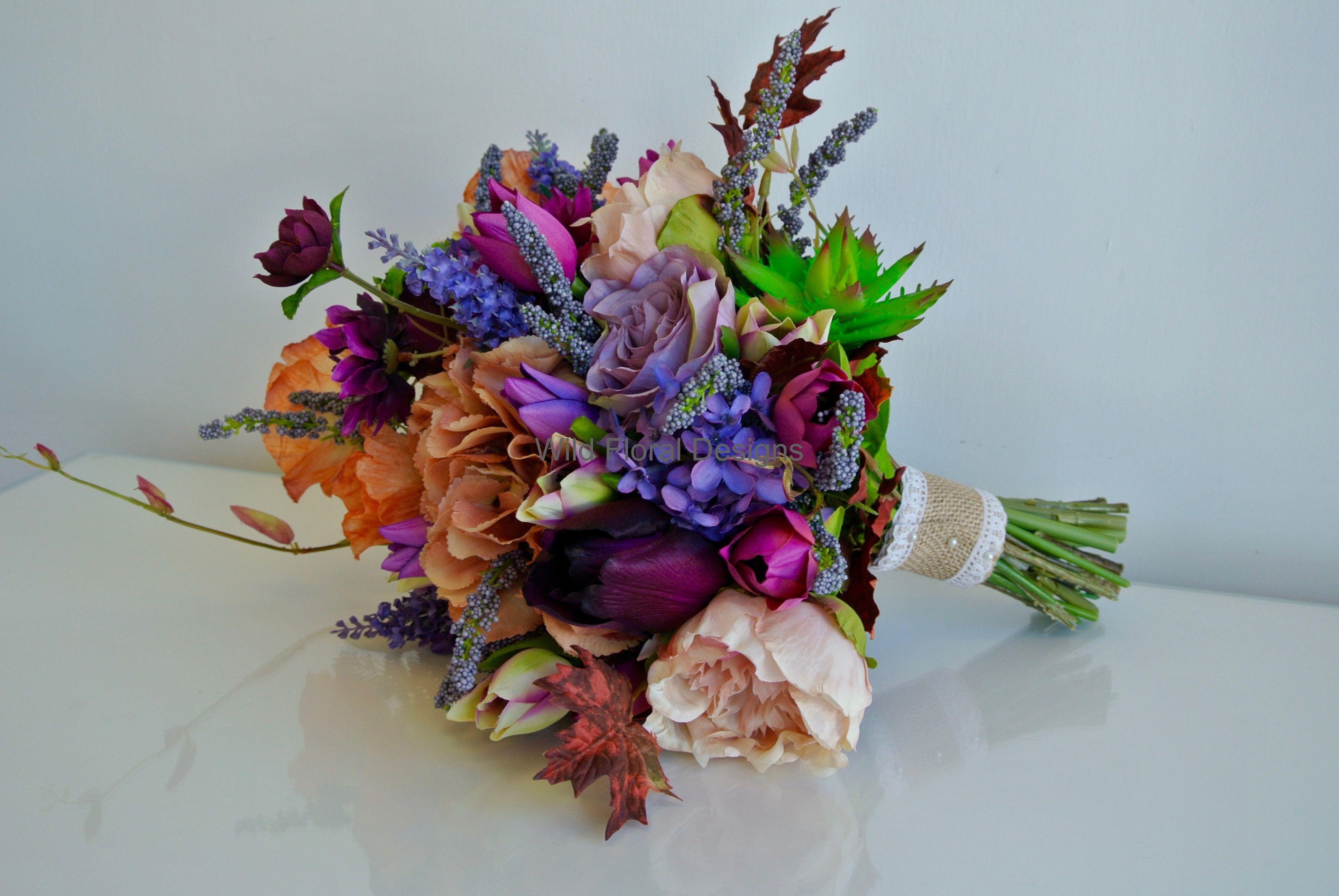 Silk Artificial Brides Bouquet Succulent Peony Lilac Purple