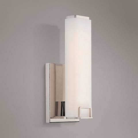 """Square 12 1/2"""" High Polished Nickel LED Wall Sconce ... on Decorative Wall Sconces Candle Holders Chrome Nickel id=91518"""
