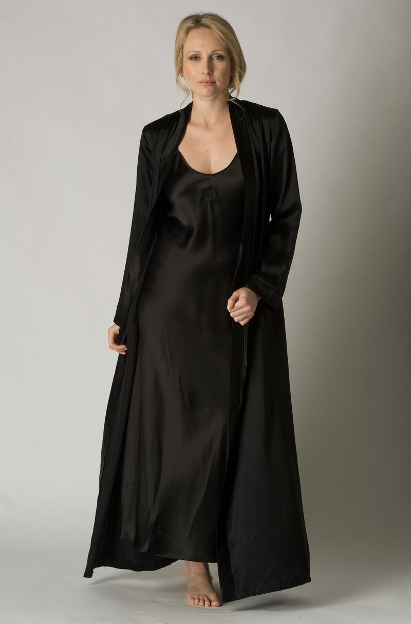 Feraud Black Pure Silk Nightdress and Robe Set - UK 10 only £395.00 ...