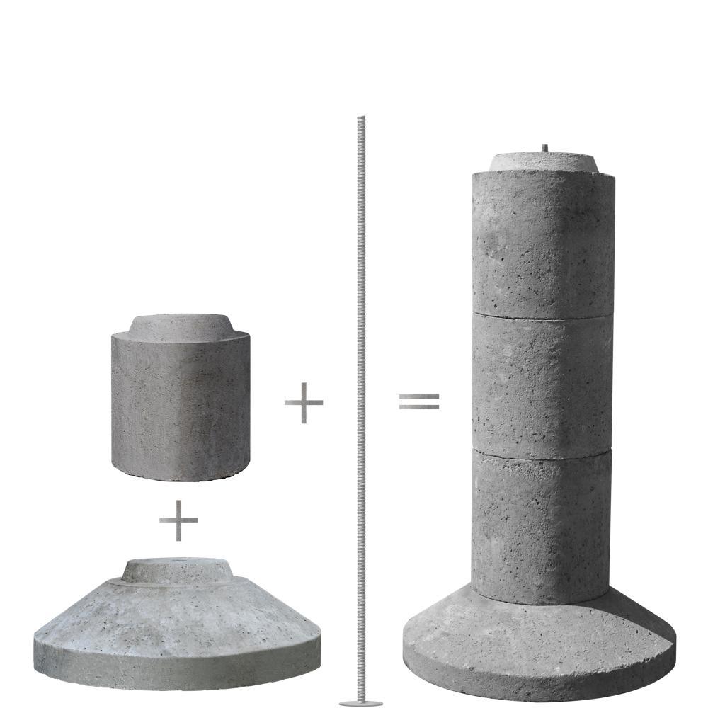 Ez Tube 4 Section 40 In Stackable Precast Concrete Pier Type Footing Eztube4 The Home Depot Precast Concrete Concrete Forms Deck Footings