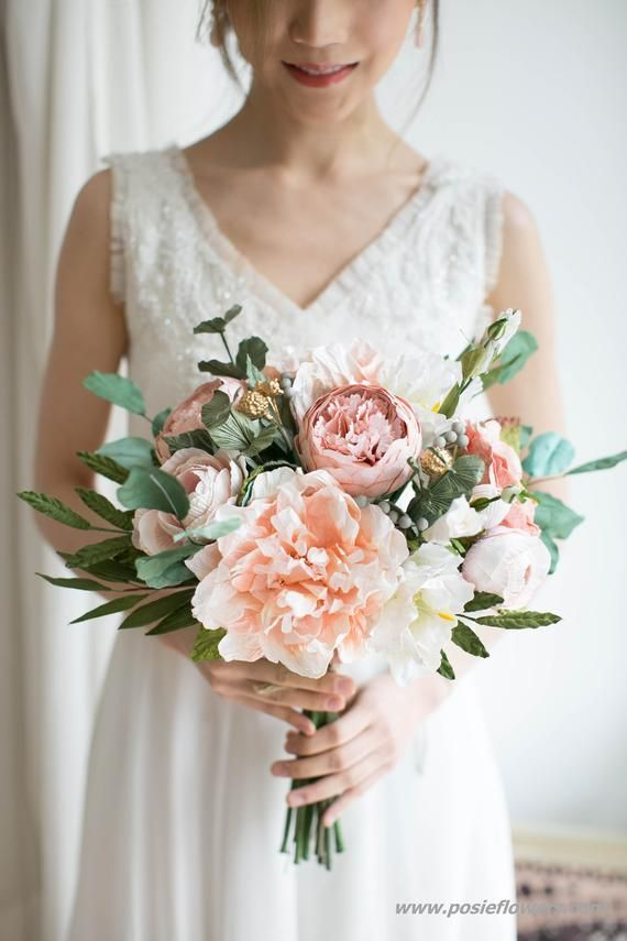 Diameter 9 Hand Tied PEACH Paper Bridal Bouquet - Boho Paper Bouquet, Boho Peach Bouquet, Coral Paper Bouquet