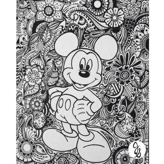 disney animals coloring book for adults mickey and minnie design by byjamierose on etsy