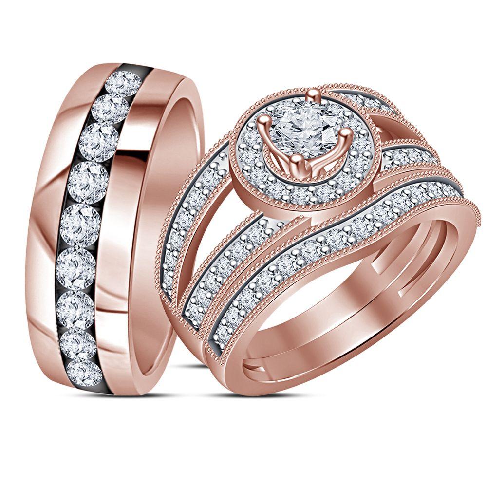 His & Her Diamond Engagement Ring Trio Set 14k Rose Gold