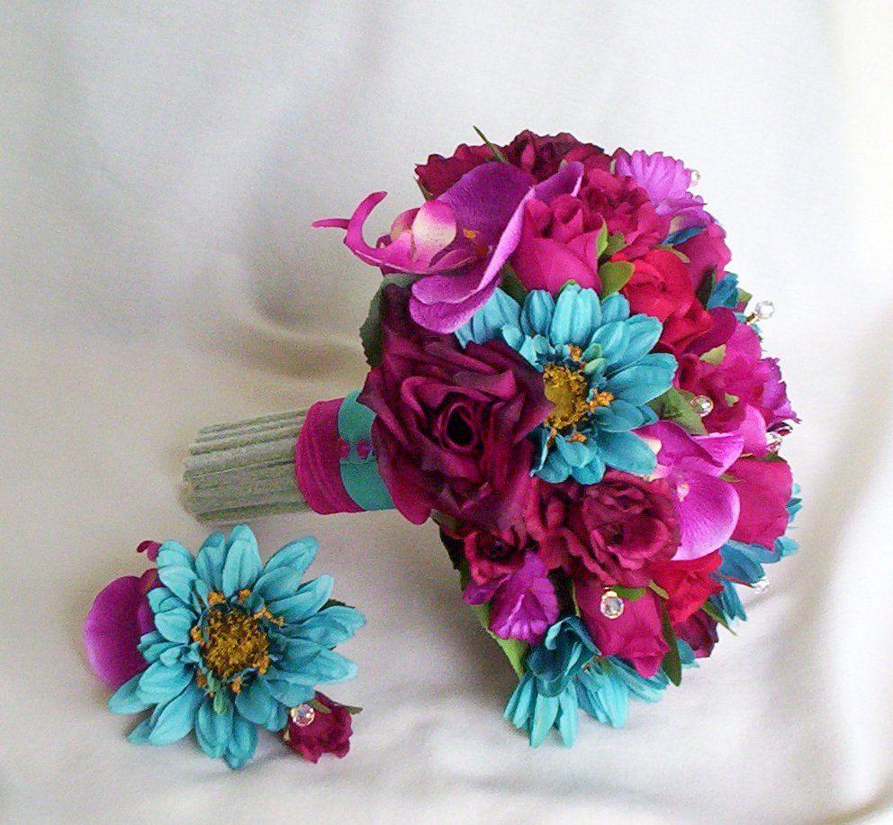 Wedding flower bouquet turquoise fuschia package made to order wedding flower bouquet turquoise fuschia package made to order with boutonnieres corsages 41500 via dhlflorist Gallery