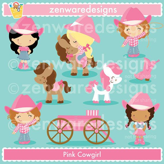 Pink Cowgirl Clipart by ZenwareDesigns on Etsy