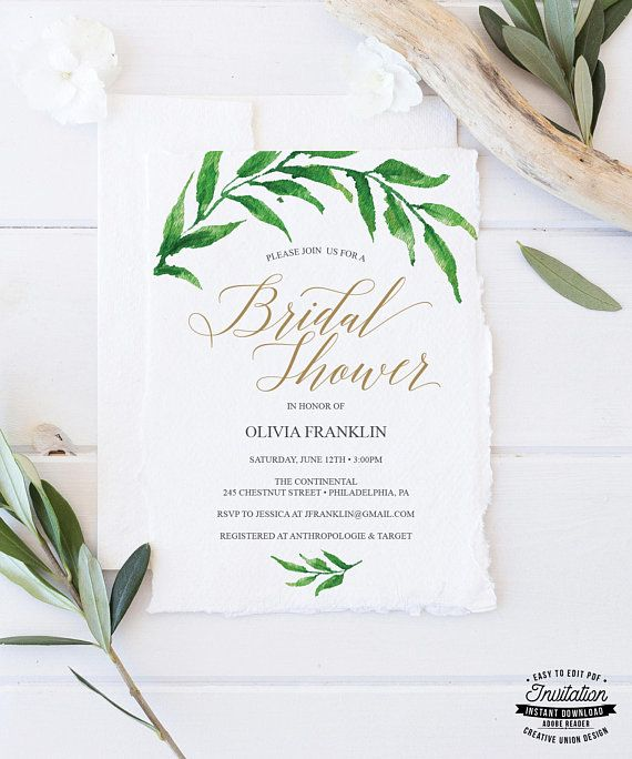 Bridal Shower Template Bridal Shower Invitation  Golden Greenery Bridal Shower Invite .