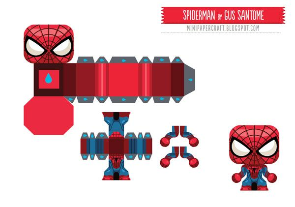 715 Spiderman Papertoy Template Mini Paper Toy