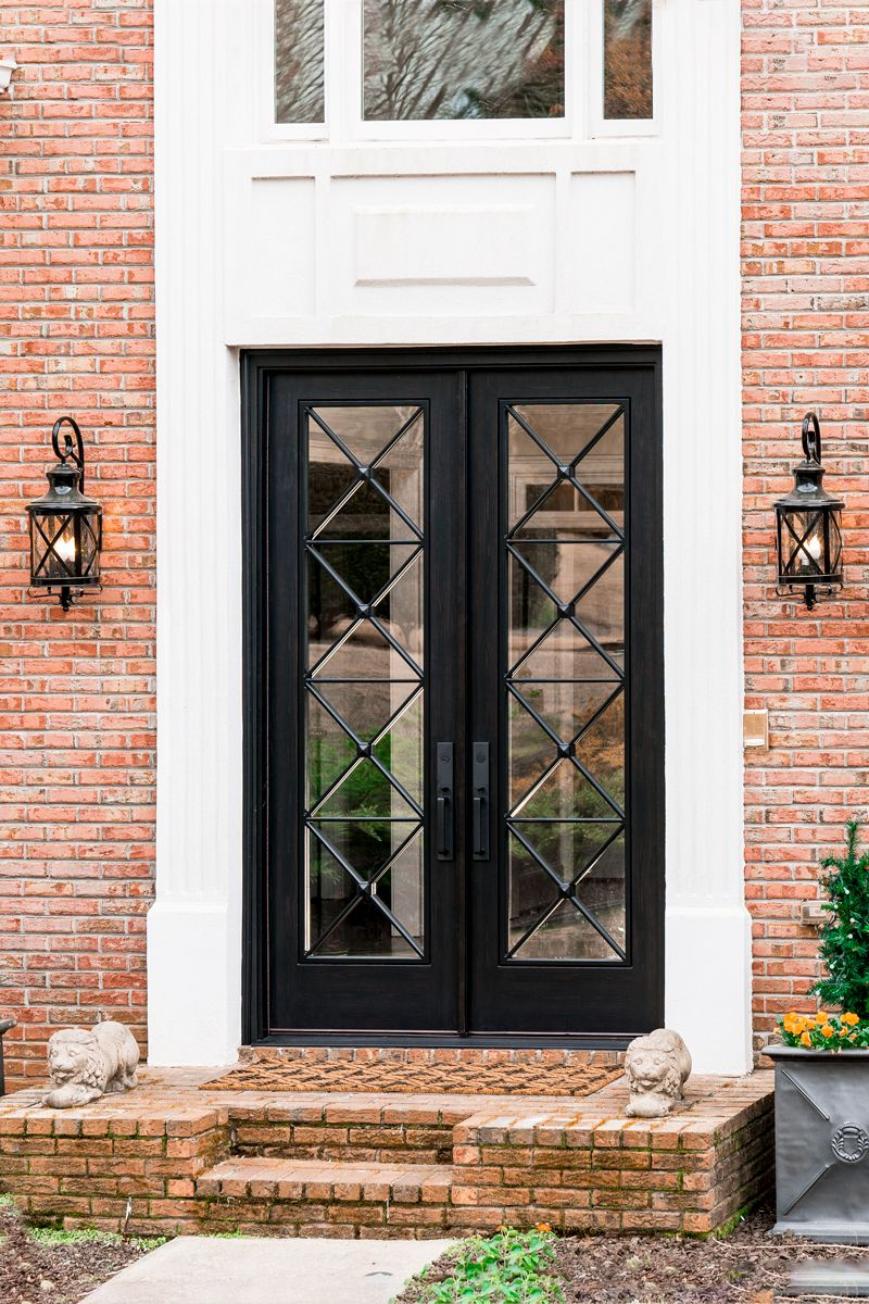Modern Cross Design Black Ebony 9 Feet Tall French Doors Exterior French Doors Garage Door Design