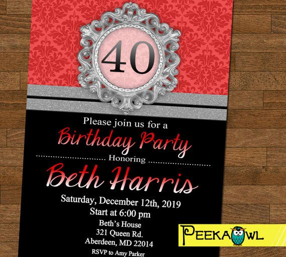Personalized 40th Birthday Invitations 30th 50th 60th Party