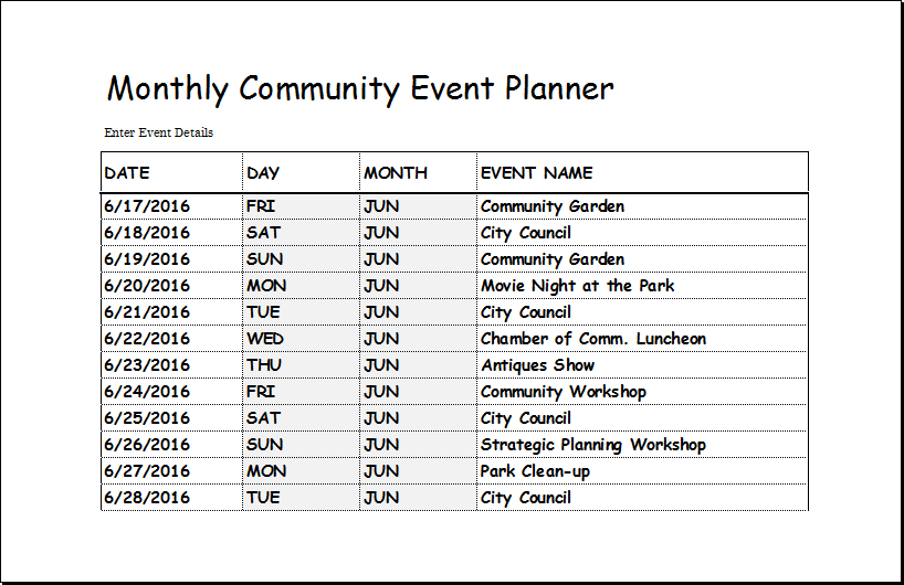 Event Planning Template Excel Community Event Planner Template For EXCEL  Events Planning Template