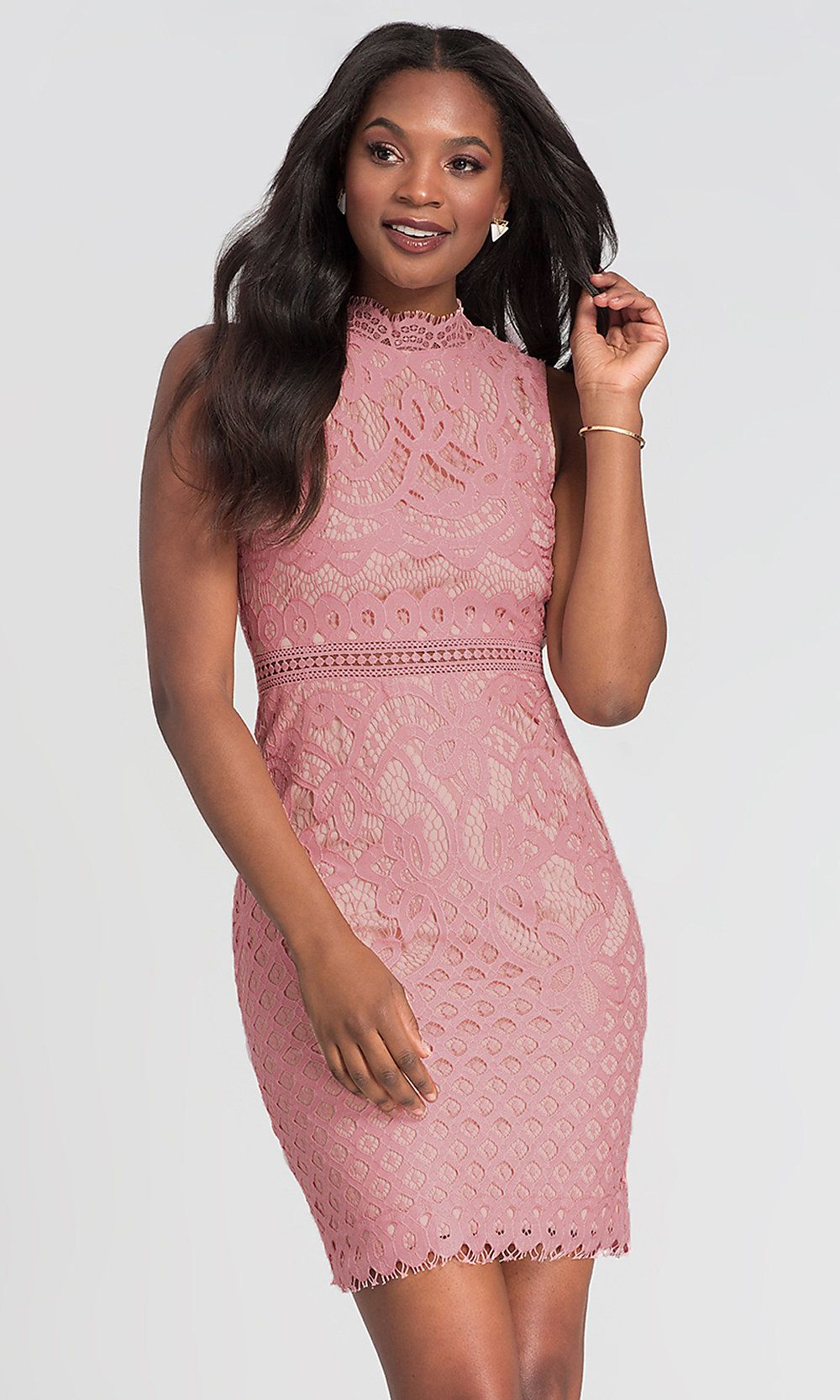 Short Lace Wedding Guest Dress In Blush Pink Blush Wedding Dress