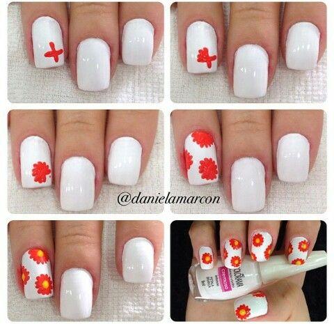 Flowers nails. Tutorial nail art. Nail design. Polish.