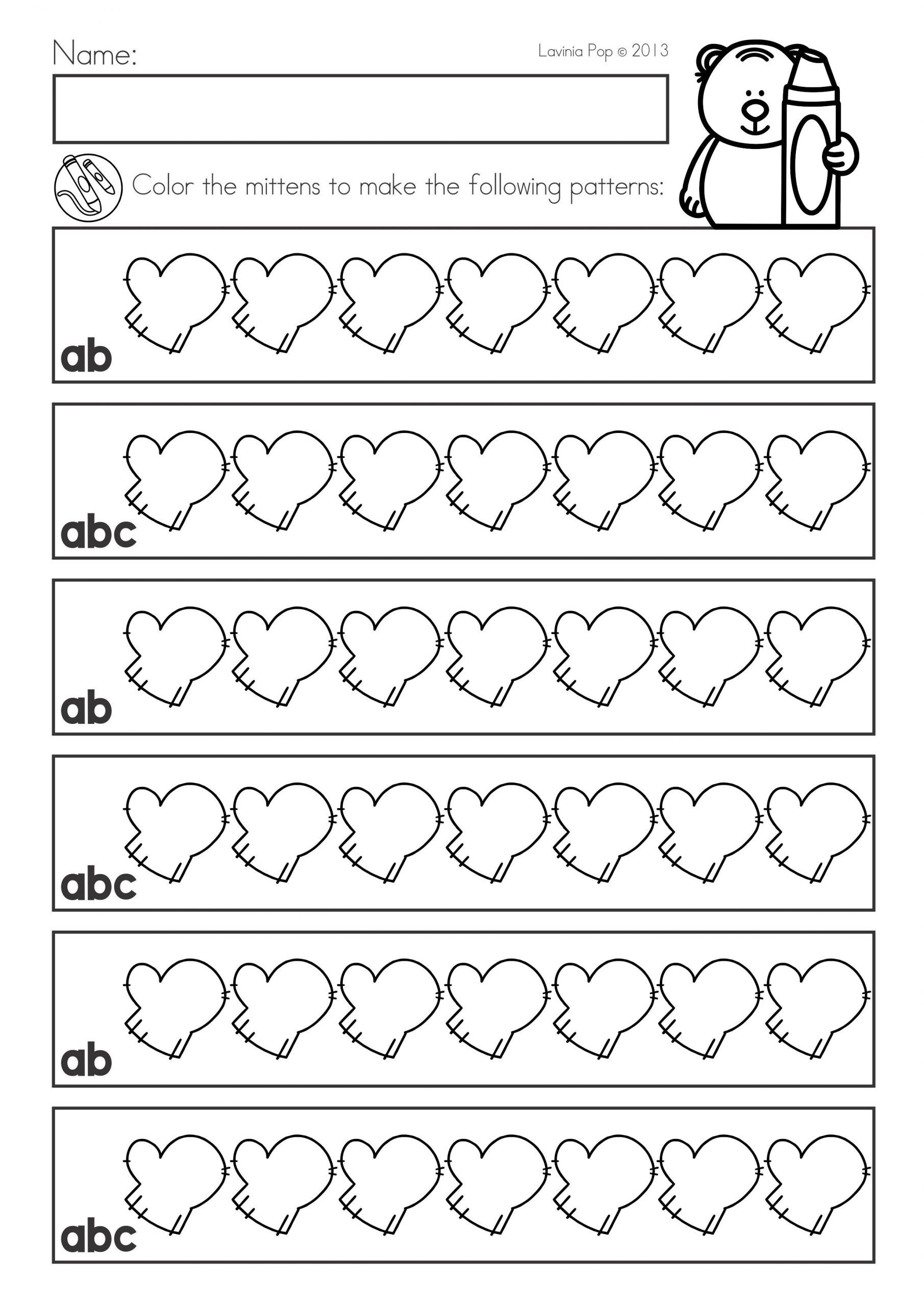 Pattern Worksheets For Kindergarten In