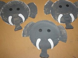 Paper Plate Elephants! Paint 2 paper plates with grey paint.. once dry cut out trunk and ears from one of the plates and have them help you attatch the ... : elephant paper plates - pezcame.com