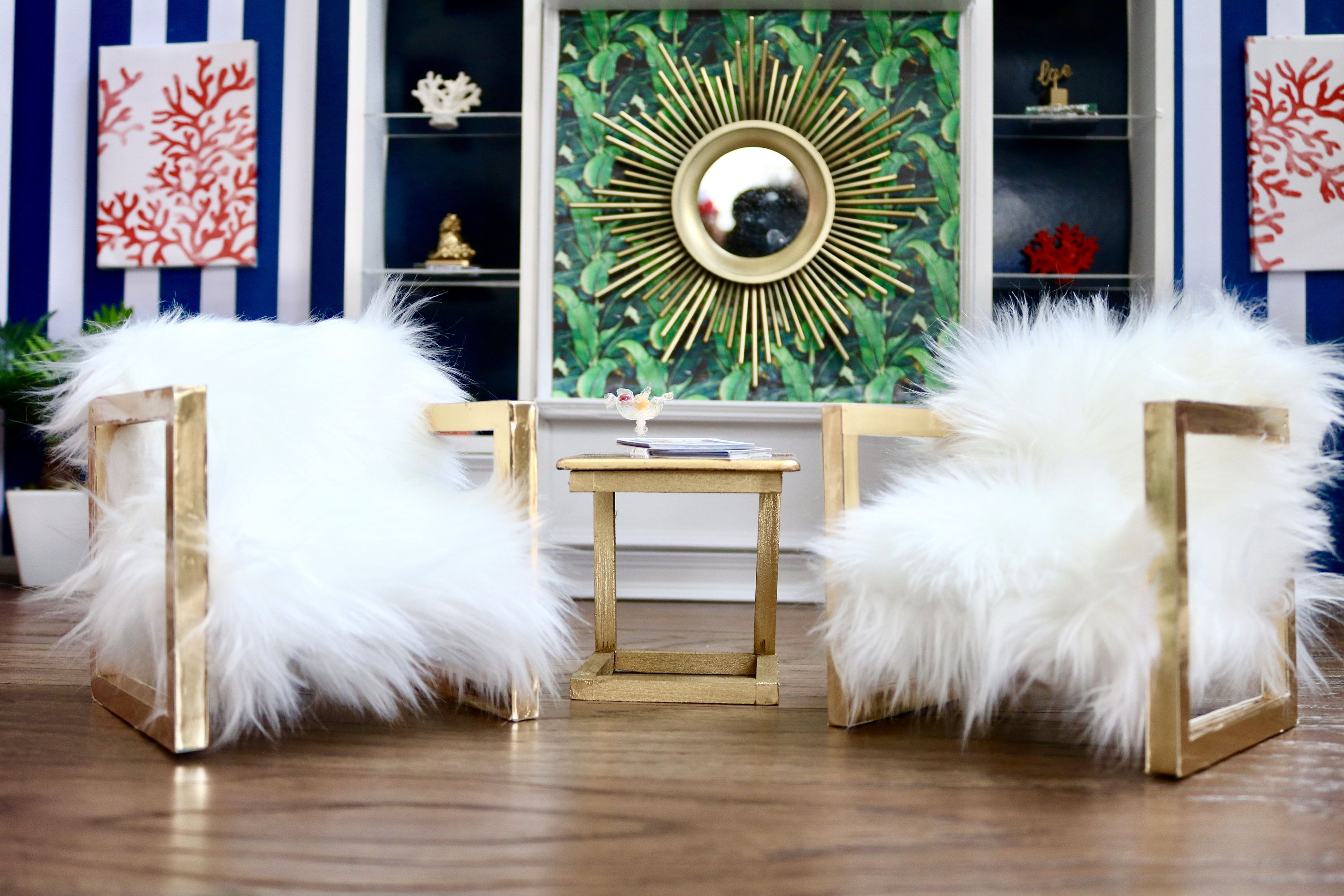 1 6 Scale 3pc Fluffy White Accent Chair And Table Set For With