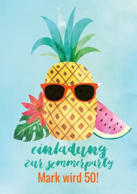 Witzige Einladungskarte Zum Sommerfest In Hawaii Look Mit Tropischer Ananas,