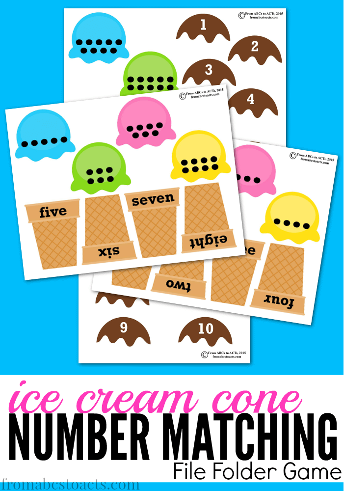 Preschool Math Games Ice Cream Cone Number Matching