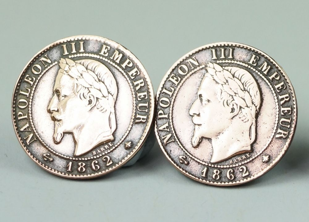 Antique French Coin Buttons Set Of Three 1862 Napoleon III