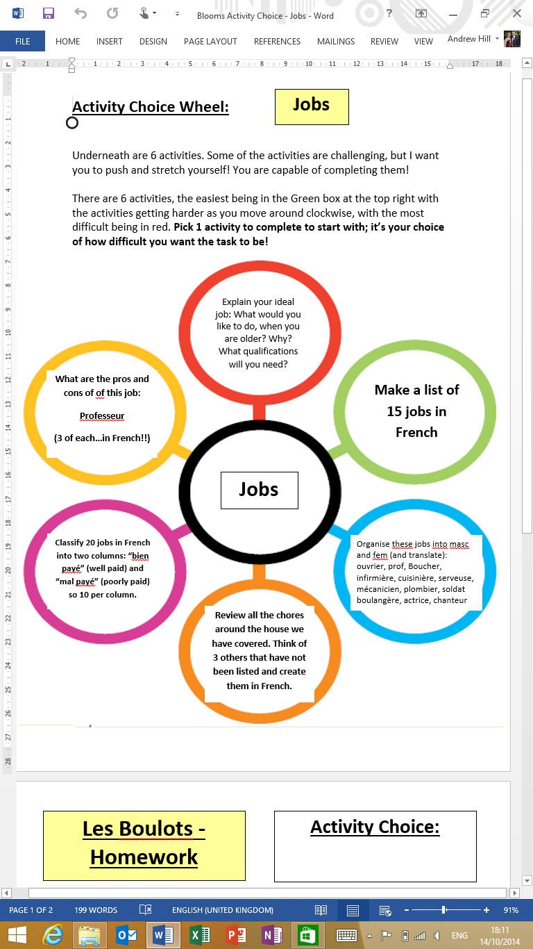 my blooms activity wheel differentiated activities same topic my blooms activity wheel differentiated activities same topic the resource can be ed from the tes by searching blooms wheel french or here