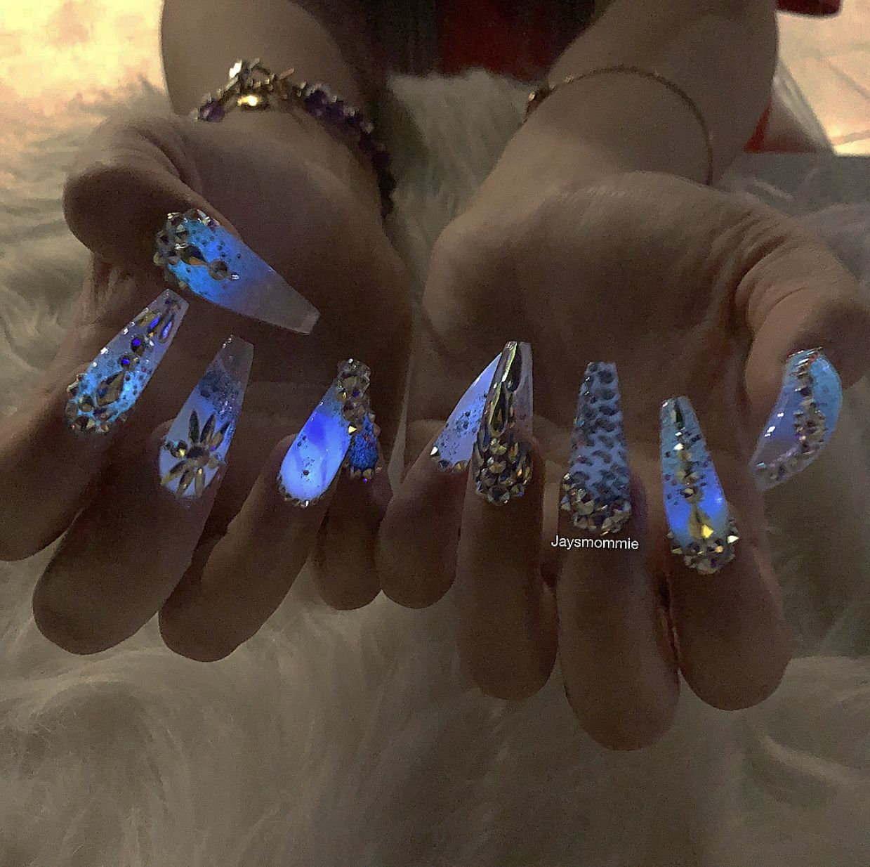 Glow In The Dark Acrylic Coffin Nails For Nicole Guerriero ...