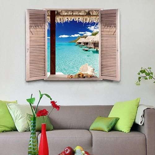 Photo of 3D Window View Beach Resort Removable Wall Sticker Art Decal DIY Room Decor – as the picture q