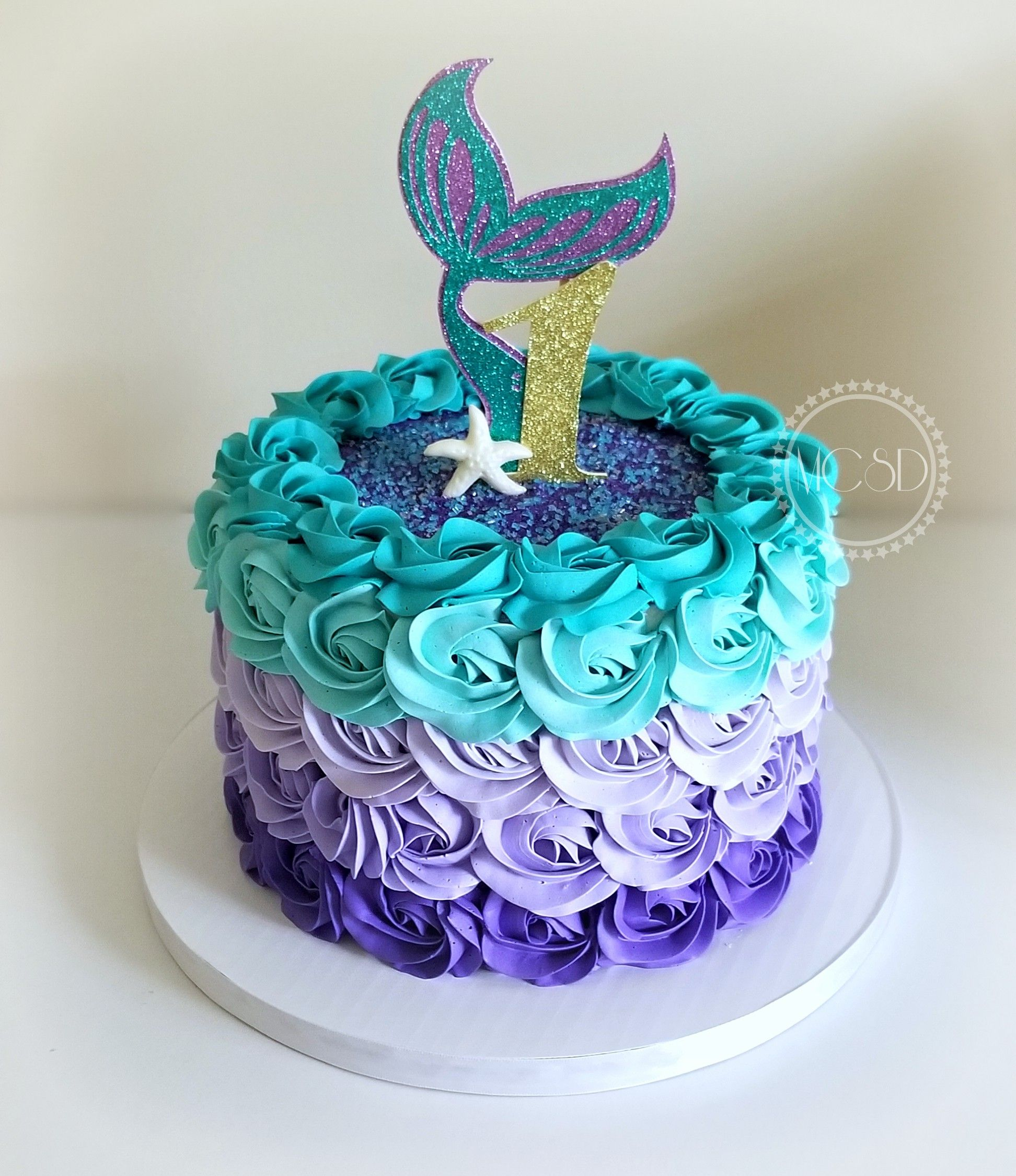 Mermaid Ombre Rosette 1st Birthday Cake