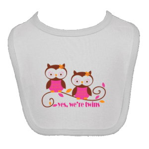 Owl Twins Girls Cute Baby Bib - White | Personalized Twins T-shirts and Gifts