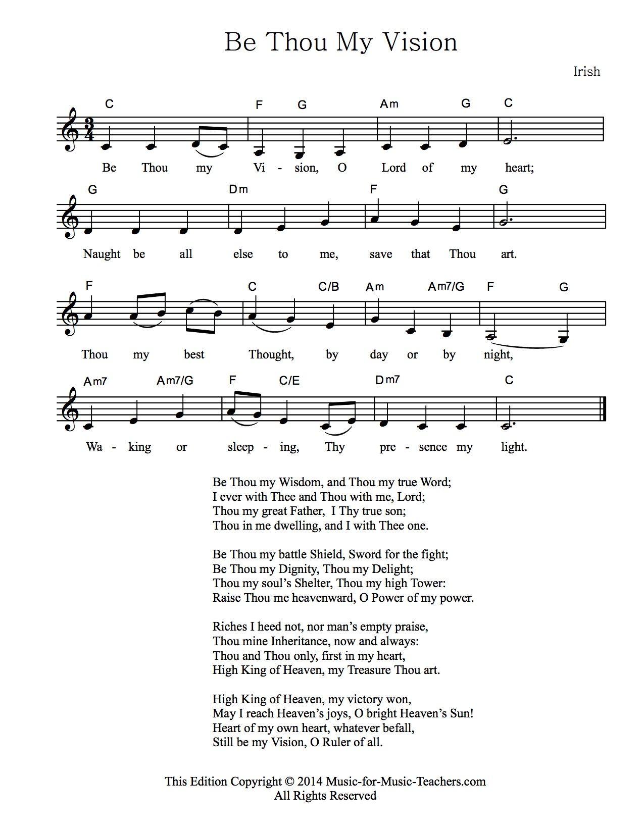 Be Thou My Vision lyrics   Be Thou my sheet music   Free