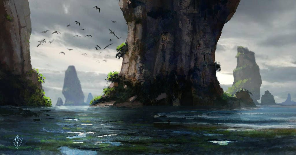 Fantasy Ocean Landscape By Jjpeabody Ocean Landscape Fantasy Landscape Landscape Art
