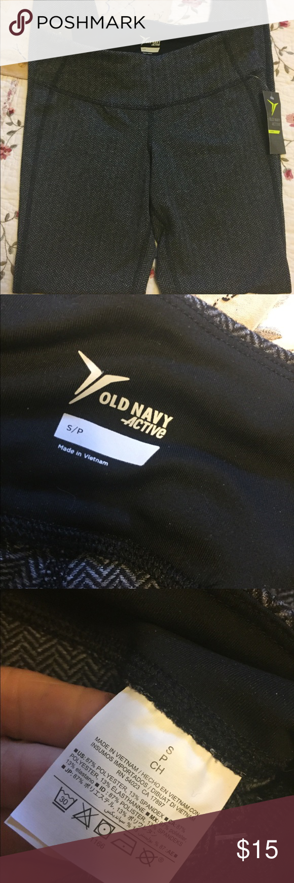 """92c3f52f4ed89c Old Navy Houndstooth Active Leggings NWT Sz S Cute pair. Stated size S.  Waist up to 27"""" , rise 8"""". Inseam 28"""". Brand new excellent condition with  tag."""
