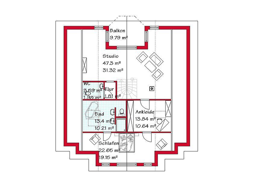 Das Dachgeschoss des Luxushauses mit 79,4 m² Grundriss