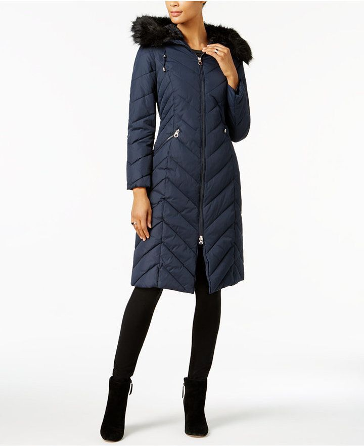 2dddad3f2979 Faux-Fur-Trim Long Puffer Coat in 2019 | Products | Long puffer coat ...