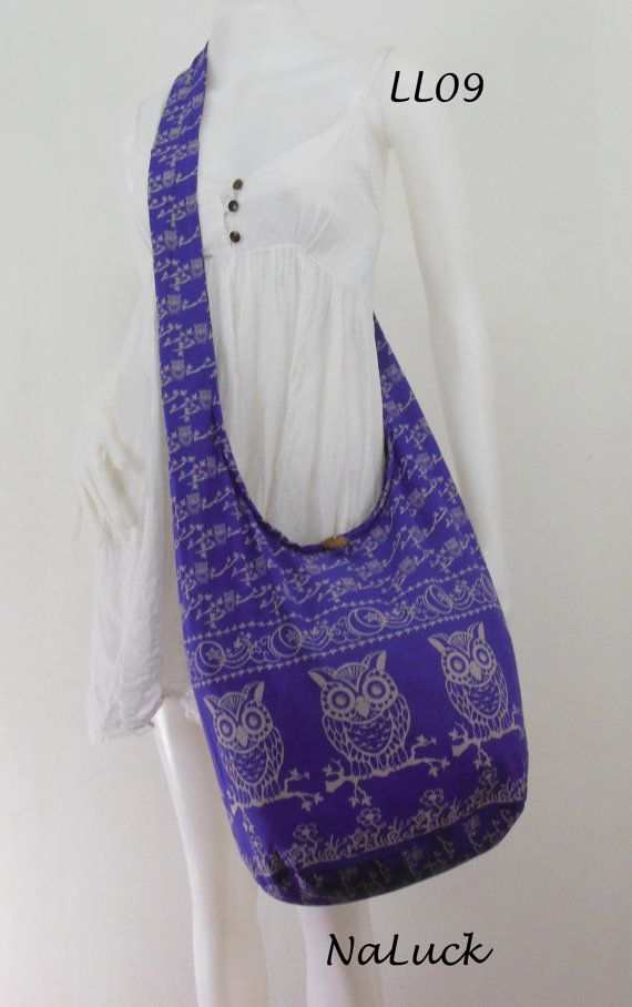 7245e2bd214 Purple Owl Vintage Unisex Hippie Hobo Boho Sling Cross body Shoulder ...